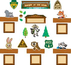 "Celebrate the student of the week with Ranger Rick and his friends. The set includes 1 ""Ranger of the Week"" title piece, 6 character pieces, 1 blank header piece, 5 labels, 5 frames, 4 signs and 25 forest-themed accents, 47 pieces total. Header piece measures 21"" x 6""."