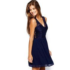 Navy V Neck Sleeveless Lace Slim Dress | pariscoming