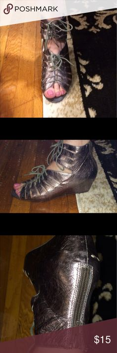 Metalic Grey lace up Wedge Sandal Used, a couple of scuff marks Dolce Vita Shoes Sandals