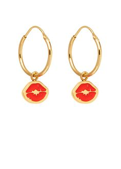 'Punk Kiss' charm hoops: a pair of Sterling Silver sleeper hoops, with enamelled dangling signature 'Kiss stamp' charms.