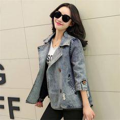 Basic Coats Spring Style Women Denim Jacket Autumn Vintage Plus Size Long Sleeve Loose Female Jeans Coat Casual Outwear