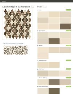 Autumn Haze 1 x 2 Harlequin. Aura. Mosaic. Daltile. Behr. Valspar Paint. Olympic. Benjamin Moore. PPG Paints. Sherwin Williams. Ralph Lauren Paint.  Click the gray Visit button to see the matching paint names.