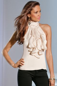 The Cascade of Ruffles Halter looks great alone or paired with a blazer! Available at www.bostonproper.com