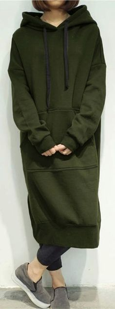 US$33.99 + Free shipping. Size: S~5XL. Color: Army Green, Black, Gray, Blue, Burgundy, Coffee, Dark Grey. 7 Colors Casual Women Solid Color Long Sleeve Pocket Hooded Sweatshirt Dress.