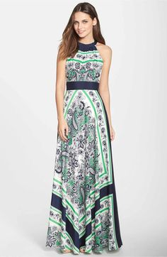 Main Image - Eliza J Scarf Print Halter Maxi Dress (Regular & Petite)