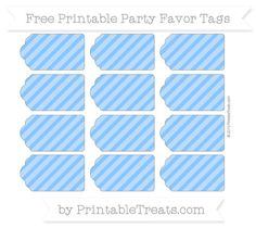 Free Dodger Blue Diagonal Striped Party Favor Tags