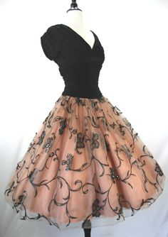 1950's Cocktail Party Original by Rudolf. Peach tulle full skirt, ruched black silk jersey