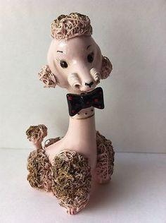 Spaghetti Pink Poodle Dog Gentleman Bow Figurine Mid Century Modern Eames 50s