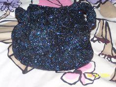 In Flavor Smart Antique Art Nouveau Silver Frame Blue Knit Iridescent Bead Tier Fringe Purse Fragrant