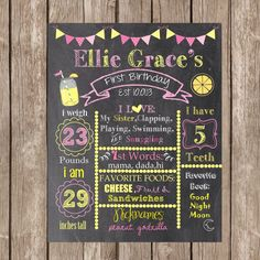 SALE Pink Lemonade  Birthday Chalkboard Printable,Lemonade Stand 1st Birthday Chalkboard Poster, Girl Chalkboard, 1st Birthday by LetsimpressDesigns on Etsy https://www.etsy.com/listing/205111990/sale-pink-lemonade-birthday-chalkboard