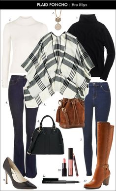 How to Style a Classic Plaid Poncho with Brown Boots and Skinny Jeans : nordstrom, plaid poncho, riding boots, seventies, pumps Jeans Outfit Winter, Winter Outfits For Work, Fall Outfits, Casual Outfits, How To Wear Poncho, Poncho Style, Poncho Outfit, Jeans Skinny, Mode Vintage