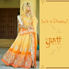 Isn't it pretty? Tell us when you would like to wear this beautiful poshak. Rajasthani Bride, Rajasthani Dress, Rajputi Dress, Royal Dresses, Dress Indian Style, Ethnic Dress, Indian Couture, Patiala, Bridal Lehenga