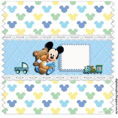 "Kit Personalizados ""Mickey Mouse Baby"" para Imprimir - Convites Digitais Simples"