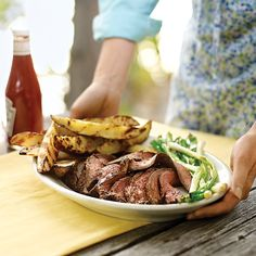 When potato wedges are tossed on the grill, they take on a crisp, smoke-infused exterior and fluffy, french-fry-like interior -- a fresh side for crowd-pleasing flank steak.