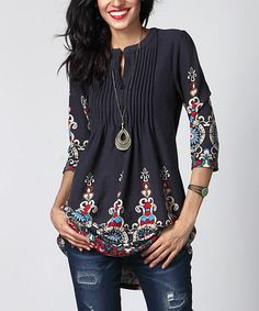 Look at this #zulilyfind! Charcoal Medallion Notch Neck Pin Tuck Tunic #zulilyfinds