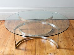1970s Merrow Associates Round Glass Coffee Table