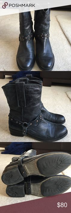 Sam Edelman Boots Black metallic western moto style boots. Leather upper with studded strap. A little wear along the straps but still in great condition. No box. Sam Edelman Shoes Combat & Moto Boots