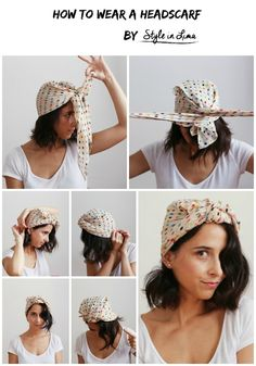 How to wear a headscarf by Style In Lima Beauty Tutorial on Curly Hair Polka Foulard Beach Waves Short Bob Silk Headscarf Beauty Collage