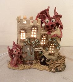 Red dragon castle lamp by sallyamoss www.ceramiccrafts.com