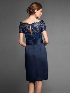 Sheath/Column Bateau Short Sleeves Sash/Ribbon/Belt Taffeta Knee-Length Dresses