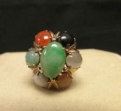 Vintage Estate 14K Gold Mount Apple Green With by Alohamemorabilia