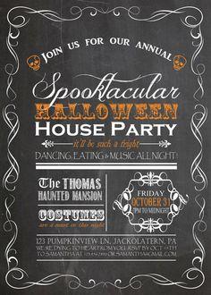 Custom Halloween Invite - House Party - Spooktacular - Costume Party - Skulls - October - Fall Party - Invitation - Printable - Custom