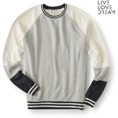 Aeropostale LLD Varsity Crew Sweatshirt (855 DOP) ❤ liked on Polyvore featuring tops, hoodies, sweatshirts, light heather grey, heather grey crewneck sweatshirt, colorblock sweatshirts, heather grey sweatshirt, color block tops and colorblock top