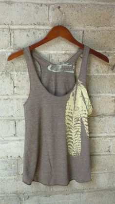 Cocoa and Pale Yellow Feathers Tri-Blend Racerback Tank Top on Wanelo