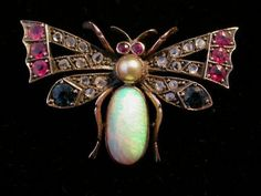 ANTIQUE GOLD OPAL SAPPHIRE RUBY & PEARL BUG BROOCH C.1880