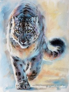 """Out of Nowhere"" - Snow Leopard mixed media (pencil, watercolor, colored pencils and acrylic) on paper, 8x10 inches"