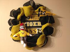 Manly Mizzou burlap wreath! No deco mesh! Includes wooden sign and sock monkey!