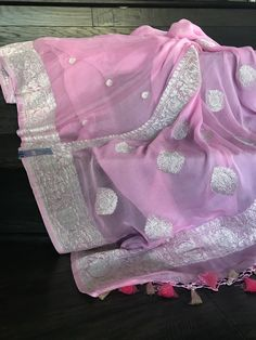 Georgette Silk Banarasi - Cotton Candy Pink 2 Silver Zari – Panache-The Desi Creations Pink Saree Silk, Chanderi Silk Saree, Chiffon Saree, Banaras Sarees, Silk Sarees, South Indian Bride Saree, Indian Bridal Sarees, Wedding Silk Saree, Bengali Saree