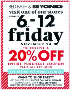 Bed Bath and Beyond Black Friday 2017 Ad Scan, Deals and Sales Bed Bath and Beyond's 2017 Black Friday hours and ad haven't been leaked yet, but we'll have them here when they are! Bed Bath and Beyond offers home . Blak Friday, Black Friday Ads, Best Black Friday, Black Friday Shopping, Origin Of Black Friday, Earth Day Projects, Online Shopping Deals, Weekly Ads, Coupons