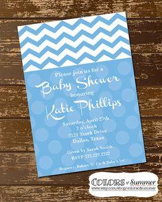 Blue Chevron Baby Shower Invitation  Digital by colorsofsummer, $12.00