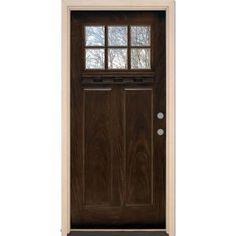 Feather River Doors 6 Lite Craftsman Chestnut Mahogany Fiberglass Entry Door-FF3790 at The Home Depot