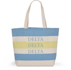 Delta Delta Delta Tri-Delta Sorority Tote with Stripes - Brothers and Sisters' Greek Store