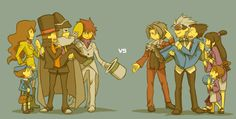 Professor Layton: Luke, Emmy, Layton, Descole, and Randall. Ace Attorney: Miles, Godot, Phoenix, Maya, and Pearl.