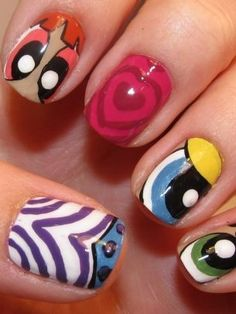 Funky Colorful Nail Art Ideas 2012 - Unleash your rebellious side and stand out from the crowd with your unique and catchy manicure design. These funky colorful nail art ideas 2012 will help you rise above the mass and add a youthful vibe to your look. Cute Nail Art, Cute Nails, Pretty Nails, Nails For Kids, Girls Nails, Colorful Nail Art, Cute Nail Designs, Creative Nails, Simple Nails