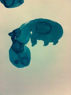 hippopotamus. Ink on paper