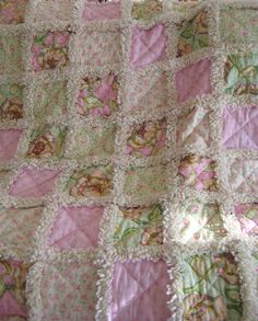 Perfect baby shower gift! Sweet Baby Rag Quilt Cabbage Roses Girly Girl by PeppersAttic,