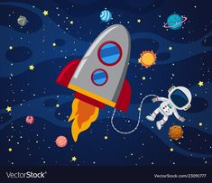 Astronaut in the space illustration , Abstract Illustration, Astronaut Illustration, Space Illustration, Space Party, Space Theme, Space Activities For Kids, Space Classroom, Space Artwork, Halloween Drawings