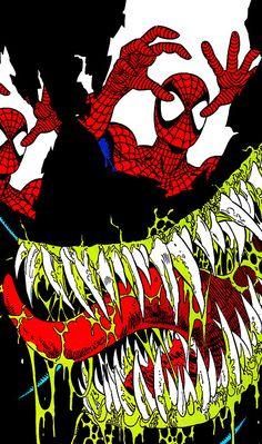 Amazing Spider-Man Vol. 1 (April Cover Art by Erik Larsen & Randy Emberlin Comics Spiderman, Venom Comics, Black Spiderman, Marvel Venom, Marvel Comics Art, Amazing Spiderman, Batman, Comic Book Villains, Marvel Villains