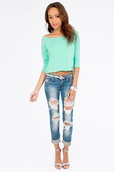 tobi. color my world cropped sweatshirt. mint. #fashion