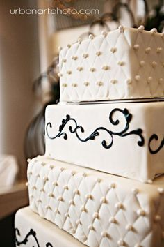 Scroll work on this one is cool! My Photo Album Wedding Cakes Photos on WeddingWire