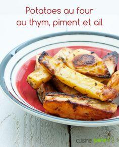 Potatoes au four au thym, piment et ail