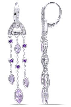 Eclipse Silver Rose De France And Amethyst With Diamond Earrings