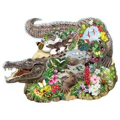 """Crocodile Island 300 Large Piece Shaped Jigsaw Puzzle, $18.99, Item #47906    Explore the crocodile's favorite nesting spot with her new hatchlings and other tropical creatures. Created by artist Rosiland Solomon. Available in two piece counts for people of all puzzling abilities. Each measures 20"""" x 27""""."""