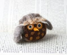 Owl - Needle Felted out of wool - handmade by Ginger Halverson