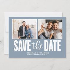 Modern Dusty Blue 2 Photo Save the Date Engagement Party Invitations, Save The Date Invitations, Save The Date Cards, Blue Save The Dates, Rustic Wedding Save The Dates, Beautiful Wedding Invitations, Wedding Invitation Design, Wood Invitation, Invitation Ideas