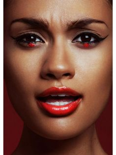 African red makeup look.